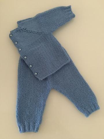Conjunto de lã + jardineira de lã, tamanho P - Foto 2