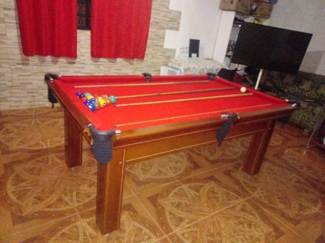 Mesa Tentação Carlin Cor Imbuia Tecido Vermelho Mod. EIBG8672 - Foto 3