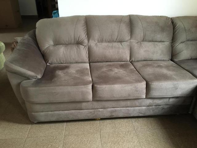 Sofá de canto tecido suede usado - Foto 5
