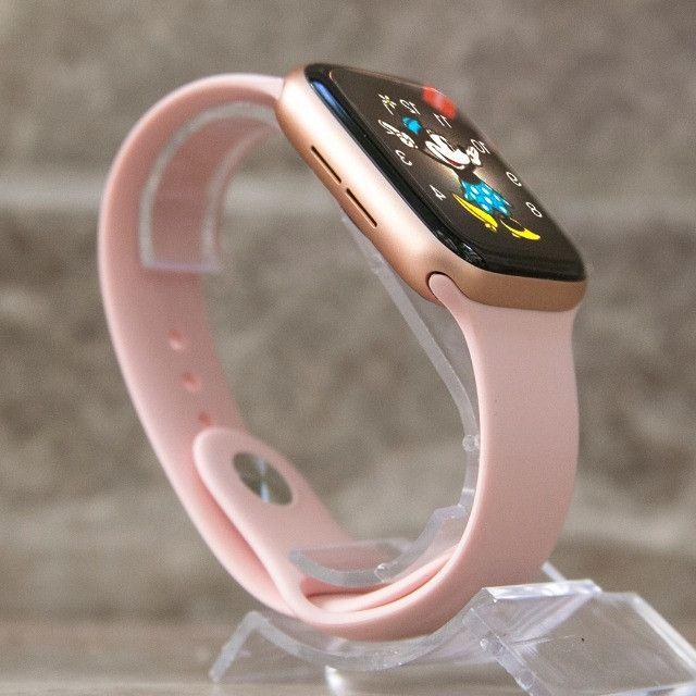 Relógio Smartwatch Iwo 12 Pro Original Gps Cor Rosa Pulseira Brinde - Foto 3