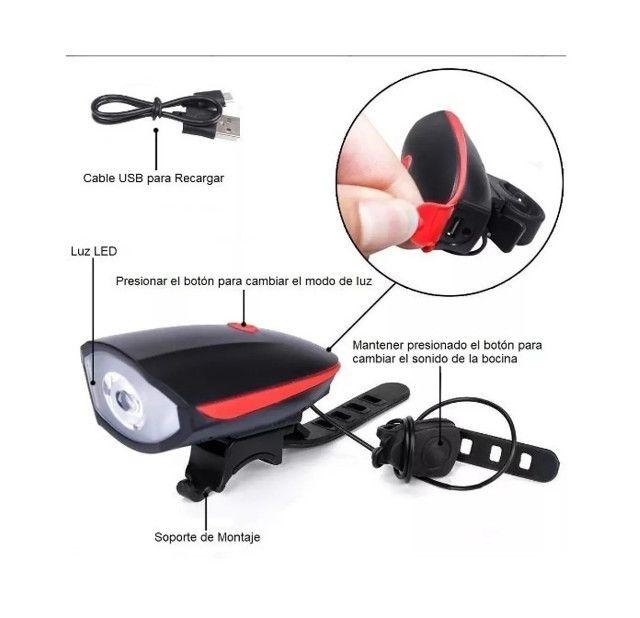 Lanterna Farol Sinalizador Recarregável com Buzina para Bike Bicicleta - Pronta Entrega - Foto 5