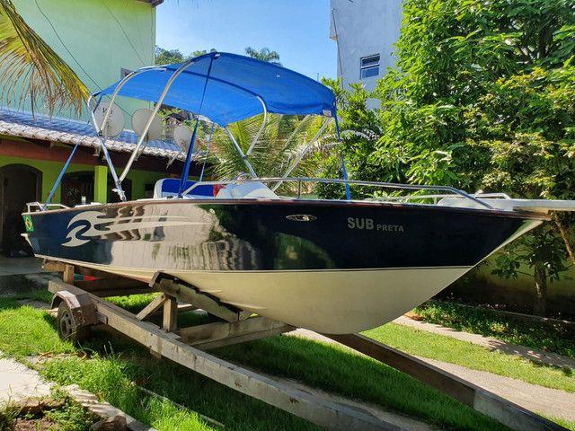 Vendo lancha 19 modelo fishing ótimo estado aceito proposta - Foto 4