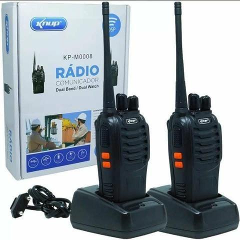 Kit 2 Rádios Comunicador HT Walk Talk UHF 16 Canais Profissional Knup KP-M0008