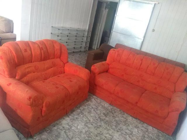 Jogo de sofá alaranjado - entrego