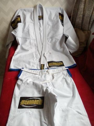 Kimono Jiu Jitsu Canhão Branco A2 Novo, Trançado Leve Para Treino e Competição! - Foto 4