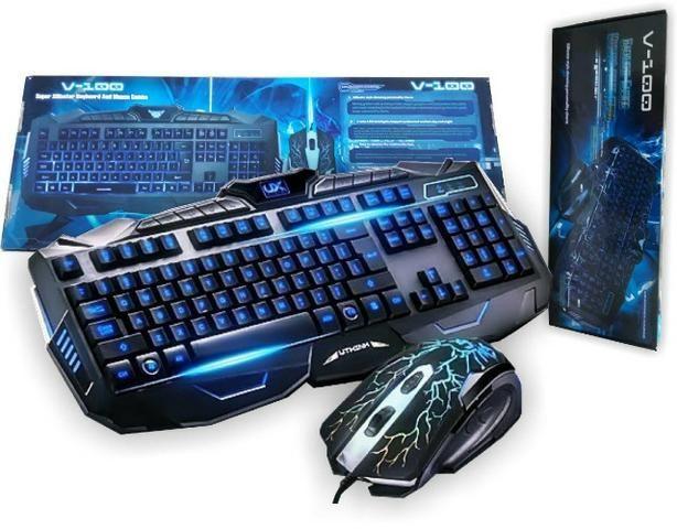 Teclado Gamer Multimidia + Mouse Usb Teclas Iluminadas V100