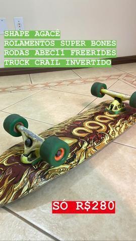 Skate Long Semi longboard Shape agace rolamento super bones rodas freerides