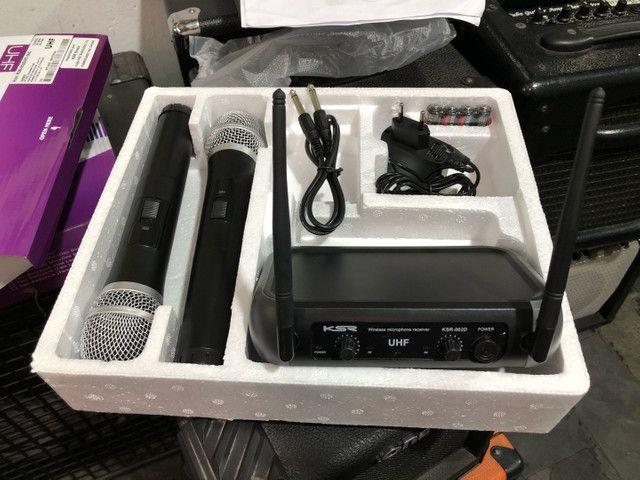 Microfone sem fio UHF KSR 002-D HT mão + mão, duplo