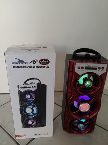 Caixinha de som com Bluetooth, entrada para pen drive, cartão de memória e rádio FM - Foto 3