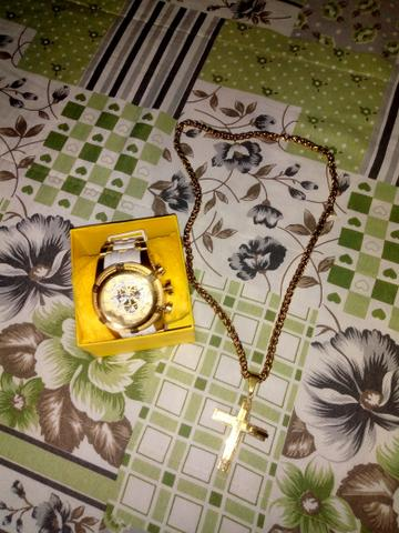 Relógio invicta original + cordão banhado