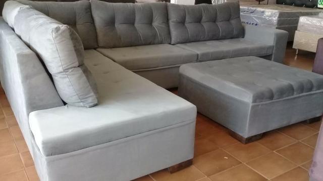 Sofa de canto gigantesco 3.32x2.06 puff enorme apenas 1400 a vista ou 10x159 cartao - Foto 4