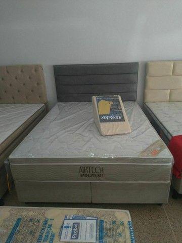 Baú solteirão americano com auxiliar, base box casal, cama baú super king - Foto 3