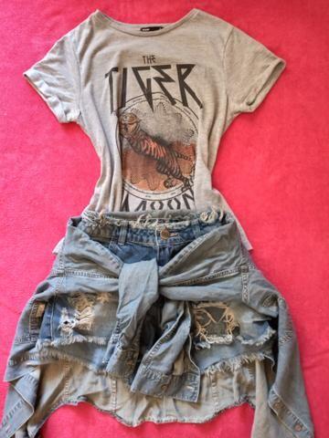 Conjunto camiseta + short + camisa jeans