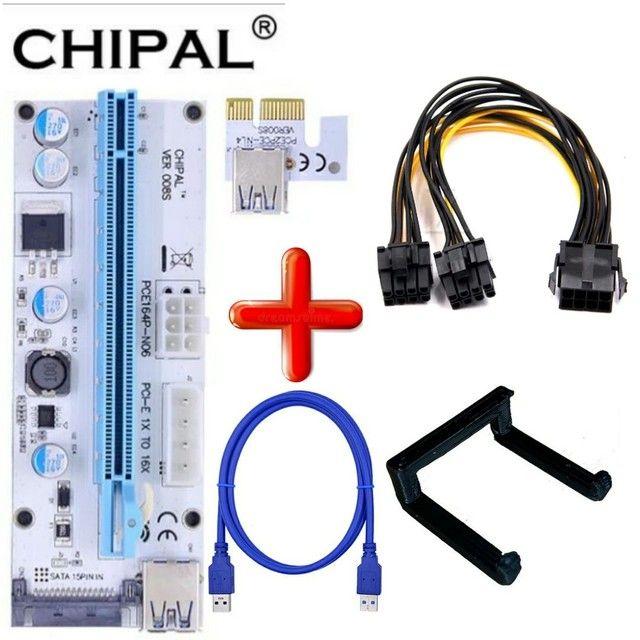 Kit Riser Pci-e V009s Plus 009 e 008+Clip p/Fixação+duplicador 8 pinos p/Rtx 3070 3080 - Foto 3