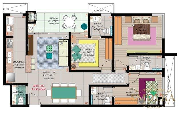 Apartamento à venda com 3 dormitórios em Jurerê, Florianópolis cod:9490 - Foto 3