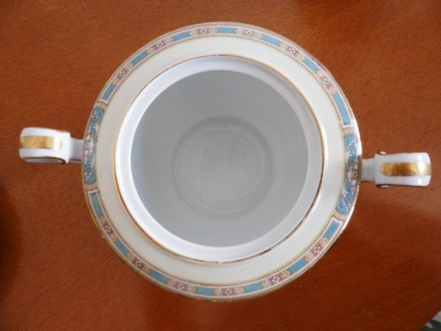 Açucareiro (Sugar Bowl & Lid) em Porcelana Chinesa Noritake 5032 Colby Blue - Foto 3