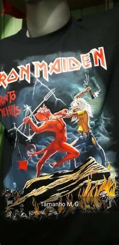 Camisa Preta 100% algodão, Iron Maiden - Foto 6