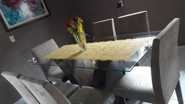 """Mesa de vidro, 6 cadeiras. Troco por Smart TV 43 ou 50"""" - Foto 2"""