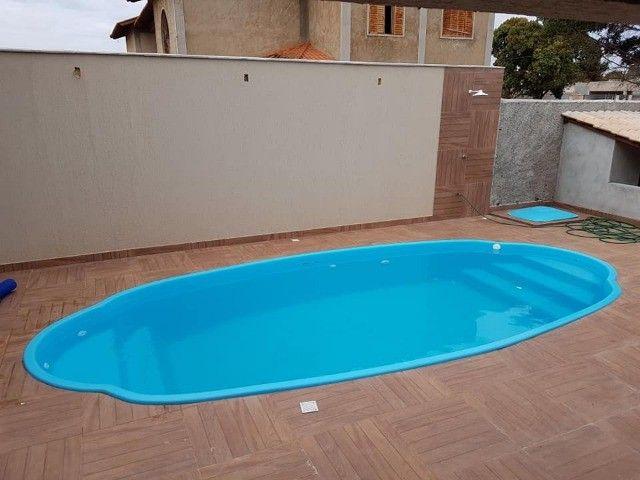 piscina de fibra leds de brinde 7 metros - Foto 4