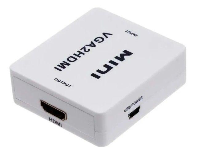 Mini Conversor Vga Para Hdmi Com Áudio Full Hd Vga P2 Hdmi - Foto 5