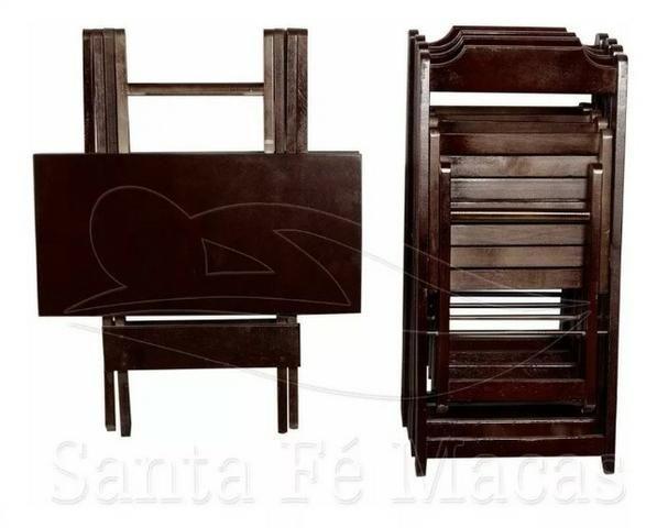 Conjunto de Mesa 70x70 com 4 Cadeiras Dobráveis - Madeira Teca/Imbuia - Foto 2