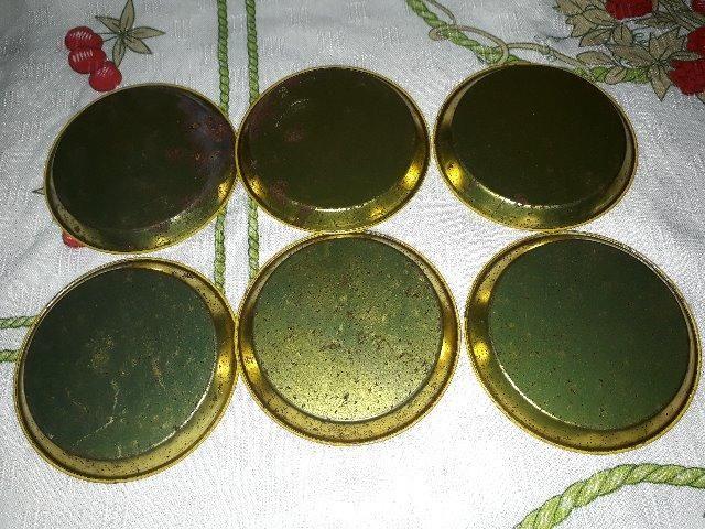 Conjunto de porta-copos antigo metálico - Foto 6
