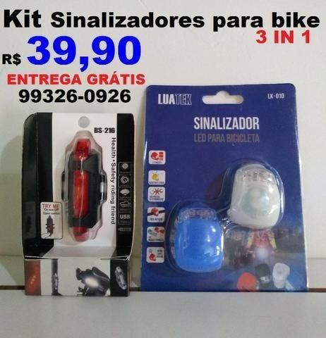 Kit de Sinalizadores para Bike 3in1 (entrega grátis)