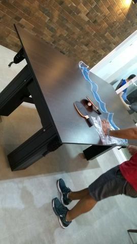 Mesa Madeira Bilhar Cor Preta Tecido Vermelho Mod. RXKX3771 - Foto 2