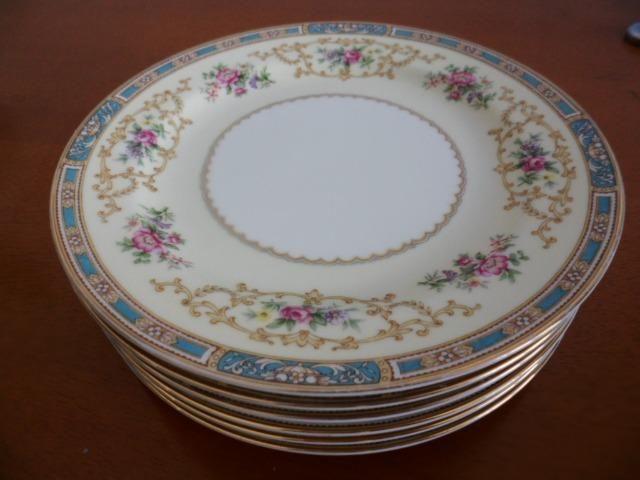 6 Pratos de Salada (Saucer Plates) Porcelana Chinesa Noritake 5032 Colby Blue