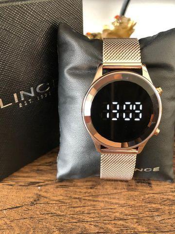 Relógio Feminino Lince Led Digital Pulseira Em Mesh - Foto 3