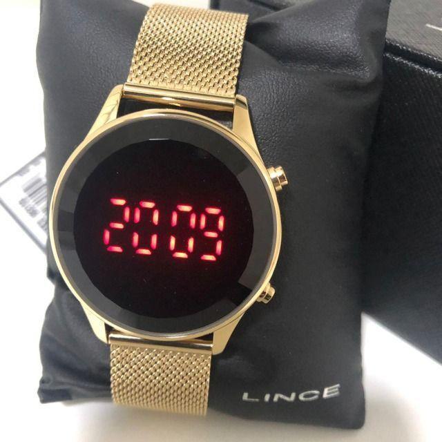 Relógio Feminino Lince Led Digital Pulseira Em Mesh - Foto 4