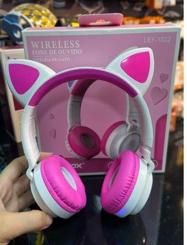 Fone de gatinho com led na cor branco com rosa. - Foto 2