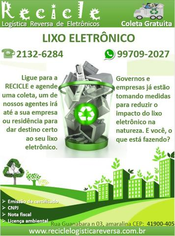 Coleta, transporte, descaracterização e destinação final de lixo eletrônico