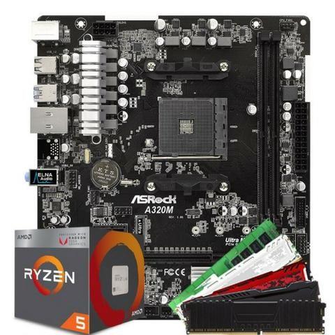 Ryzen Kit 2200g 3 70Ghz 8Gb Ddr4 2666Mhz AsRock A320m-Hd M 2 Placa De Video  Ate 2Gb