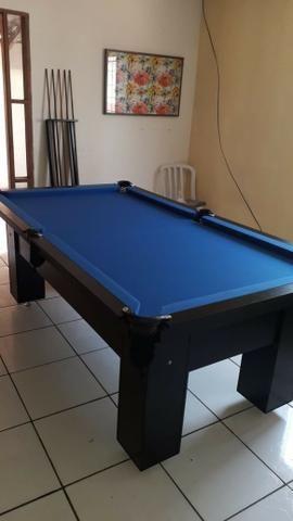Mesa Charme Bilhar Cor Preta Tecido Azul Mod. TPJX2235 - Foto 3