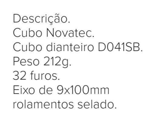 Cubo dianteiro novo Novatec 32 furos 9x100mm - Foto 2