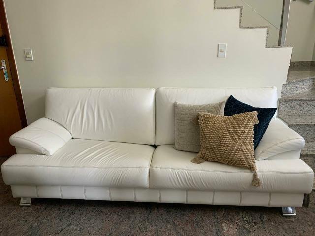 Sofá de couro legitimo branco - Líder Interiores