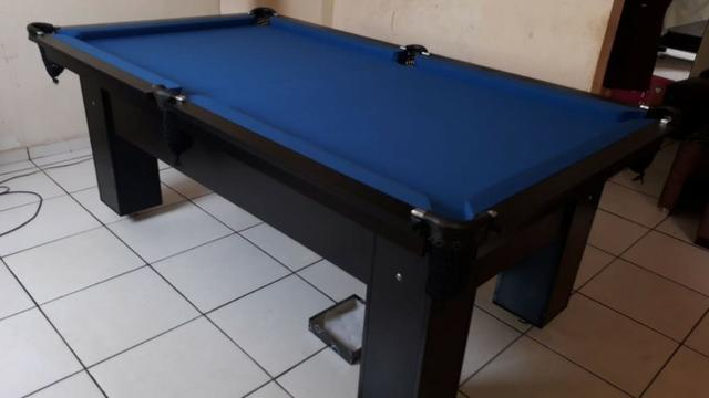 Mesa Charme Bilhar Cor Preta Tecido Azul Mod. TPJX2235