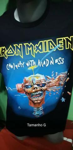 Camisa Preta 100% algodão, Iron Maiden - Foto 3