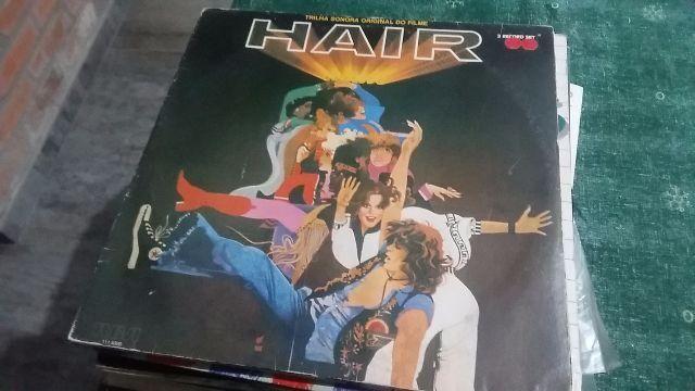 LP Trilha Sonora Filme Hair - Álbum Duplo - Capa e disco super inteiro