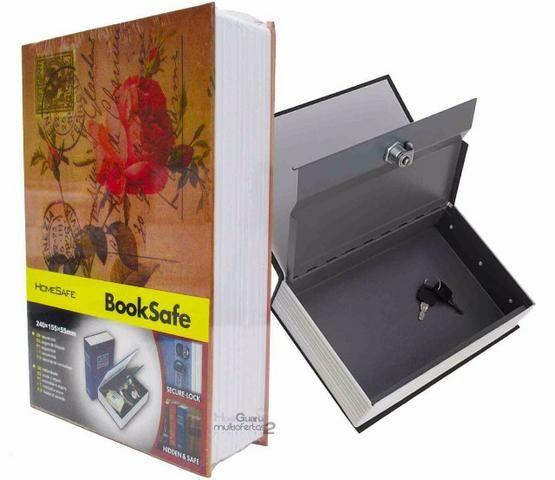 Livro Cofre Camuflado Pequeno escondido secreto joias talão cheque - Foto 3