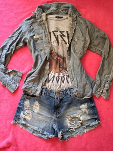 Conjunto camiseta + short + camisa jeans - Foto 2