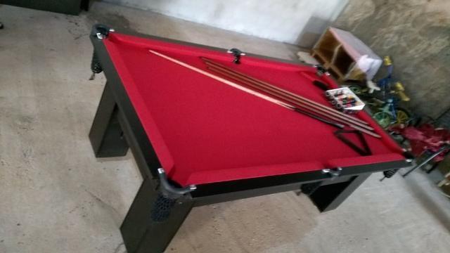 Mesa Charme de 4 Pés Cor Preta Tecido Vermelho Mod. ELGW3387 - Foto 3
