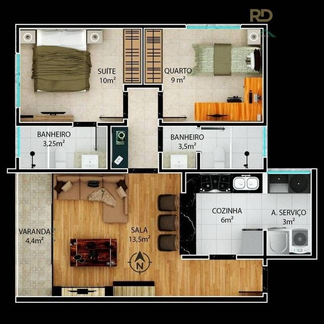 Apartamento à venda, 2 quartos, 1 suíte, 3 vagas, São Lucas - Belo Horizonte/MG