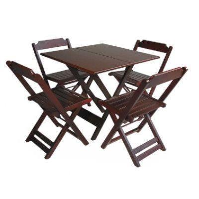 Conjunto de Mesa 70x70 com 4 Cadeiras Dobráveis - Madeira Teca/Imbuia