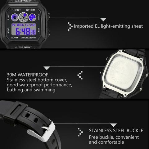 Relógio Illuminator Digital Esporte Militar LED - Foto 5