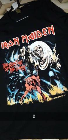 Camisa Preta 100% algodão, Iron Maiden - Foto 2