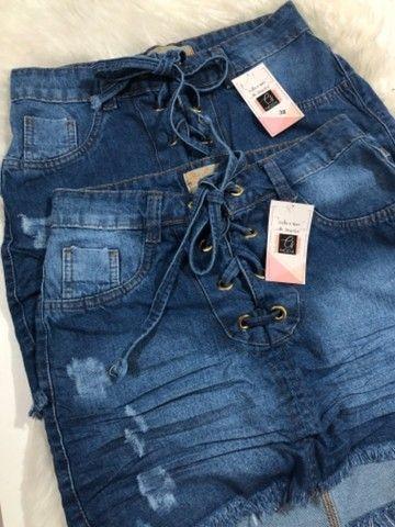 Saia Jeans +short jeans