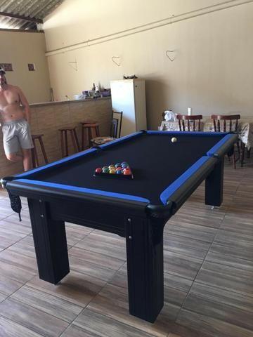 Mesa Madeira 4 Pés Laterais Cor Preta Tecido Preto e Borda Azul Mod. CSQV7919 - Foto 3
