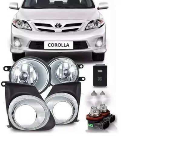 Kit Milha Neblina Aro Cromado Toyota Corolla 2012 2013 2014